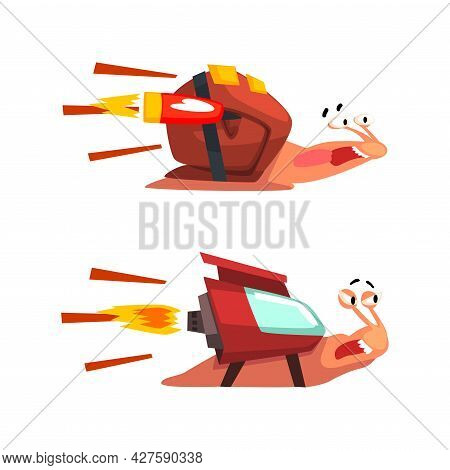 Set Of Funny Fast Snails, Amusing Mollusk Characters With Rocket Turbine Cartoon Vector Illustration