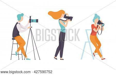 Man And Woman Photographer Shooting With Professional Camera Vector Set