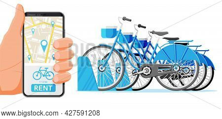 City Bicycle Sharing System Isolated On White. Bike Stand With Rental Bicycles. Bike On Docking Stat
