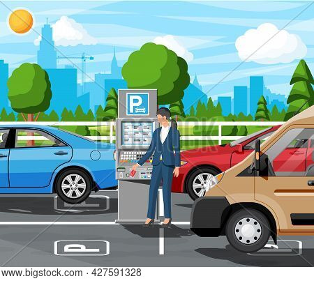 Woman Pay For Car Park With Parking Meter Cityscape. Ticket Machine Icon. Female Car Driver And Seda