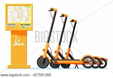 Renting Electric Scooter Concept. Electric Terminal And Kick Scooter. Rent Of Scooters Service, Rent
