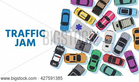 White Road With Many Different Vehicles In Traffic Jam. Narrowing Or Bottleneck On Road Top View. Ma