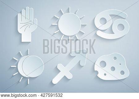 Set Sagittarius Zodiac, Cancer, Eclipse Of The Sun, Asteroid, Sun And Palmistry Hand Icon. Vector