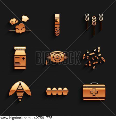 Set Reddish Eye Allergic Conjunctivitis, Chicken Egg In Box, First Aid Kit, Medicine Pill Or Tablet,
