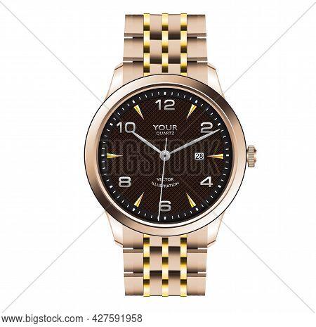 Realistic Gold Watch Clock Dark Brown Face Design For Men Fashion On White Background Vector Illustr