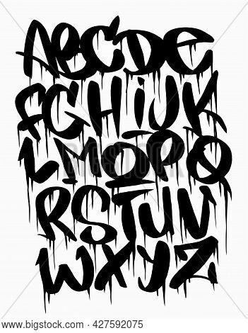 Cartoon Graffiti Comic Doodle Font Alphabet. Vector Illustration.handwhritten Graffiti Font.