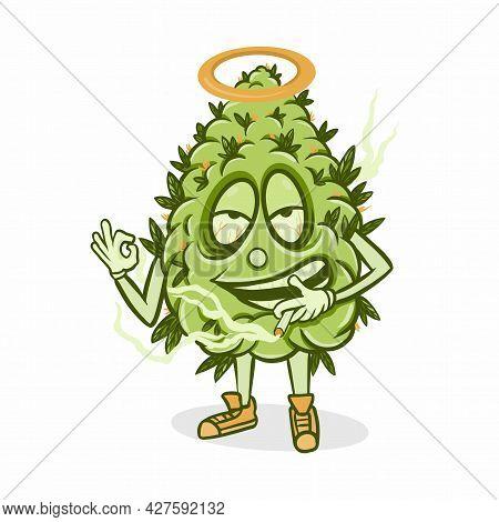 Cute Funny Happy Marijuana Weed Bud With Cannabis Vape.vector Flat Cartoon Character Illustration Ic