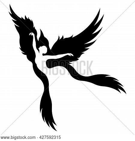 Bright Silhouette Of A Dancing Girl In A Zarbird Bird. Design Suitable For Logo, Tattoo, Dance, Ball