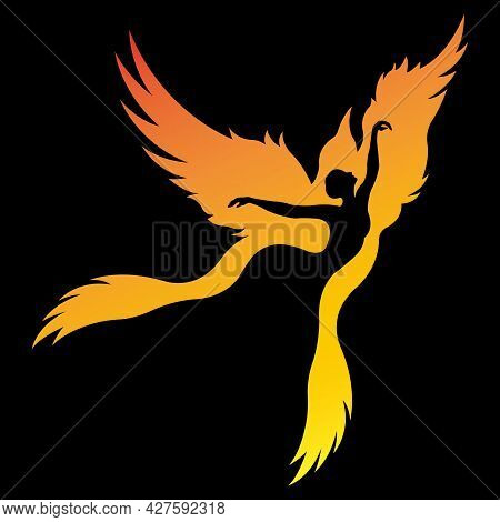 Silhouette Of A Dancing Girl In A Zarbird Bird. Ballet And Fitness Dancing Concept. Design Suitable