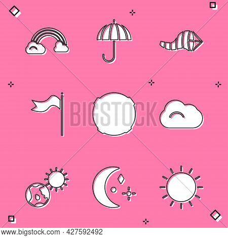 Set Rainbow With Clouds, Umbrella, Cone Meteorology Windsock Wind Vane, Meteorology, Moon, Cloud, Ea