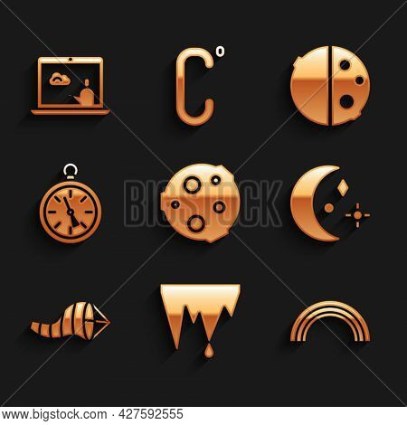 Set Moon, Icicle, Rainbow, And Stars, Cone Meteorology Windsock Wind Vane, Compass, Eclipse Of The S