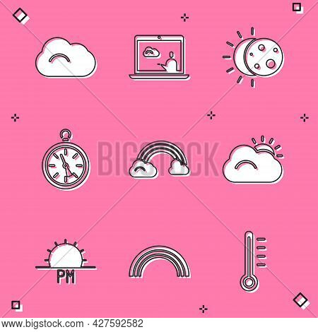 Set Cloud, Weather Forecast, Eclipse Of Sun, Compass, Rainbow With Clouds, Sun And, Sunset And Icon.