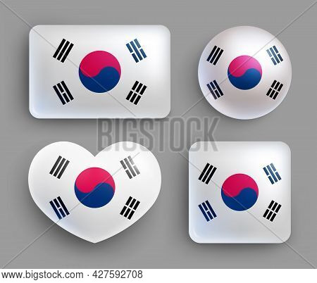 Set Of Glossy Buttons With Korea Country Flag. Eastern Asia Country National Flag, Shiny Geometric S