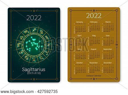 Sagittarius Calendar Of Pocket Size Of Zodiac Sign. 2022 Year Double Sided Vertical Calendar With Ar