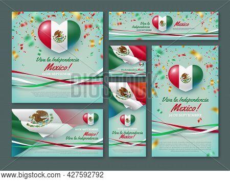 Happy Independence Day Of Mexico Vector Banner Set. 16 De Septiembre Viva La Independencia Mexico Ba