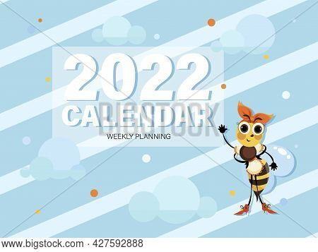 Bees. Cover, Title Page. 2022. Vector Cartoon Character For Kids Planning. Design For Notebook