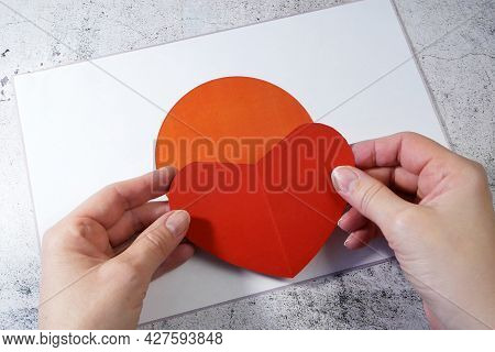 I Love Japan. Hands Make Heart On Japan Flag Background. 27th March Japan Day, Hispanic Day, Closeup