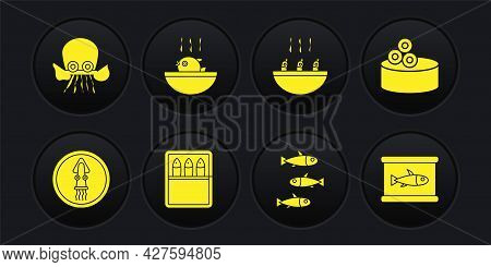 Set Octopus On A Plate, Tin Can With Caviar, Canned Fish, Fishes, Soup Shrimps, Puffer Soup, And Ico