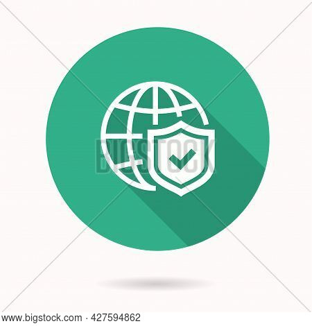 Antivirus Firewall Icon With Long Shadow For Graphic And Web Design.