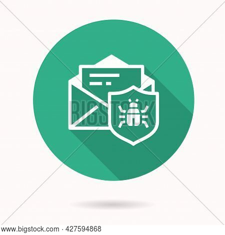 Email Virus Threat Icon With Long Shadow For Graphic And Web Design.