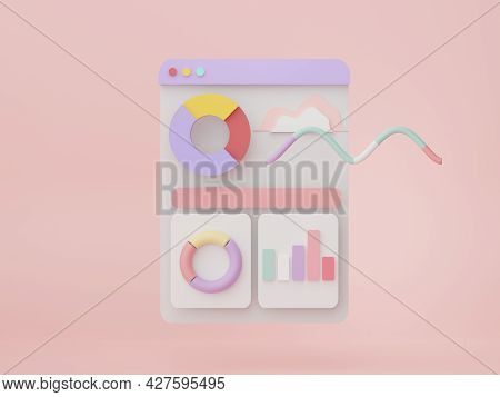 3d Render Seo Data An Analytics. User Interface For Web Banner And Mock Up. Business Graph Chart For