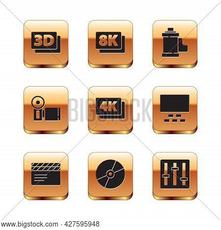 Set 3d Word, Movie Clapper, Cd Dvd Disk, 4k Ultra Hd, Cinema Camera, Camera Film Roll Cartridge, Sou