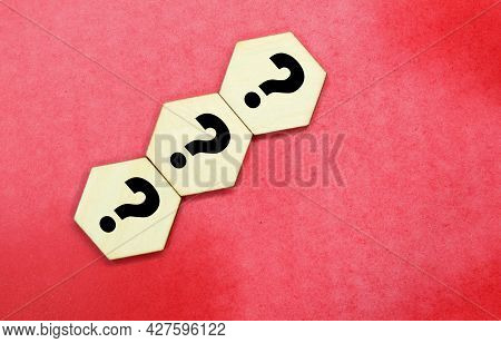 Hexagon With A Question Mark. The Concept Of Question Or Question And Answer