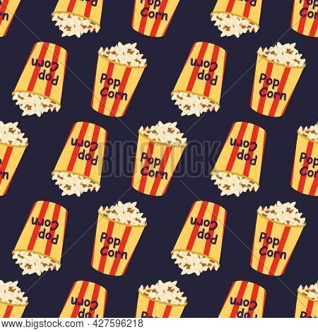 Bright Seamless Pattern With A Festive Box With Popcorn. Print For Cinema, Theatre, Film Industry An