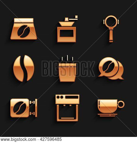 Set Coffee Cup, Machine, And Conversation, Street Signboard Coffee, Beans, Filter Holder And Bag Ico
