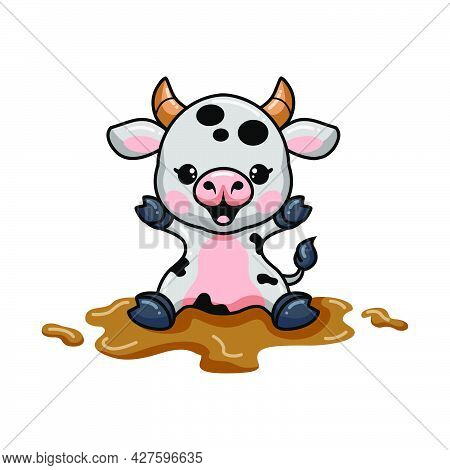 Vector Illustration Of Cute Baby Cow Cartoon Sitting In The Mud
