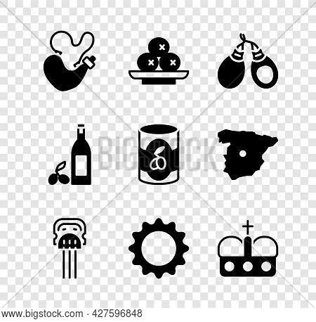 Set Spanish Wineskin, Olives On Plate, Castanets, Peineta, Sun, Crown Of Spain, Bottle Olive Oil And