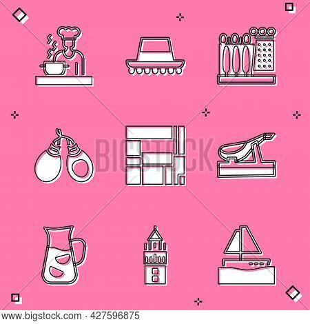 Set Spanish Cook, Hat, Dali Museum, Castanets, House Edificio Mirador, Jamon, Sangria And Giralda Ic