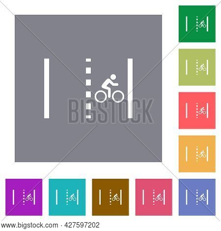 Bicycle Lane Flat Icons On Simple Color Square Backgrounds