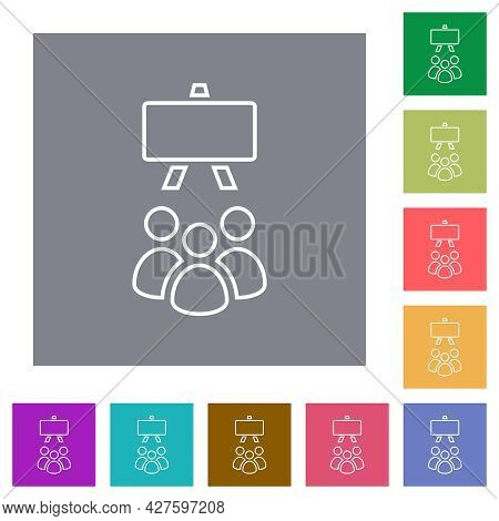 Classroom Outline Flat Icons On Simple Color Square Backgrounds