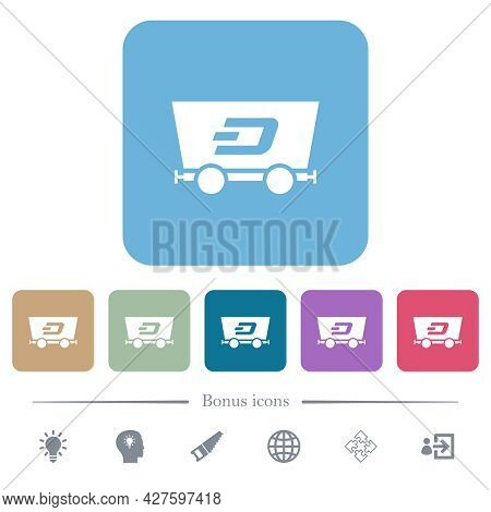 Dash Criptocurrency Mining White Flat Icons On Color Rounded Square Backgrounds. 6 Bonus Icons Inclu