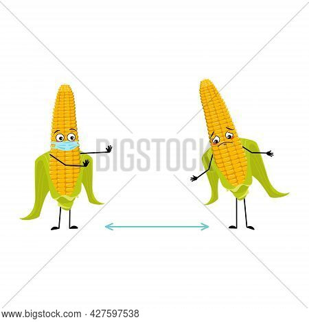 Cute Corn Cob Character With Emotions, Face And Mask Keep Distance, Arms And Legs. Funny Or Sad Yell