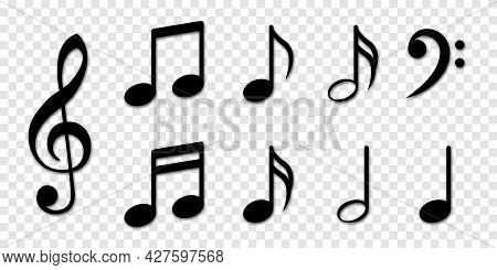 Musical Note Icons Set. Vector Illustration Isolated On Transparent Background