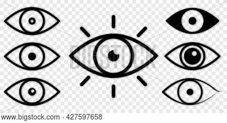 Set Of Eye Icon. Eyesight Symbol. Vector Silhouette Isolated On Transparent Background