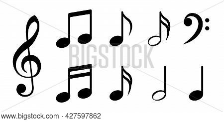 Set Of Musical Note Icons. Vector Illustration Isolated On White Background