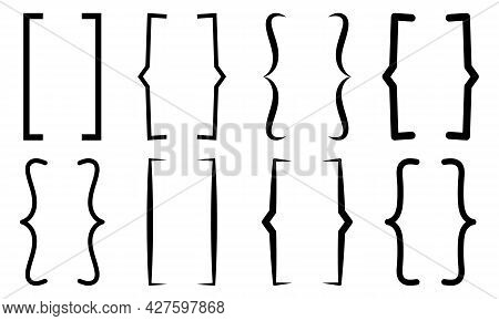 Set Of Text Bracket Icon. Vector Black Collection Isolated On White Background