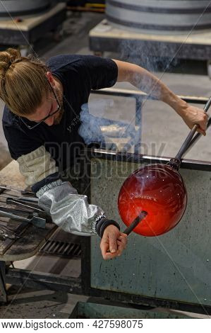 Arzviller, France, June 22, 2021 : In A Glass-blowing Workshop. Glass And Crystal Route Connects The