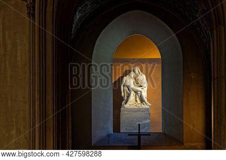 Aix-les-bains, France, June 4, 2021 : Statue In Hautecombe Abbey. Origins Of Hautecombe Is A Communi