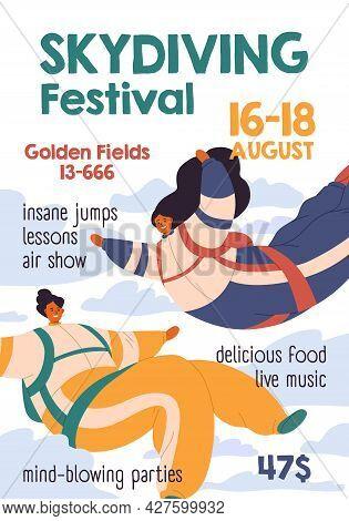 Flyer Template Of Skydiving Festival. Vertical Ad Banner Design For Parachuting Sport Event. Backgro