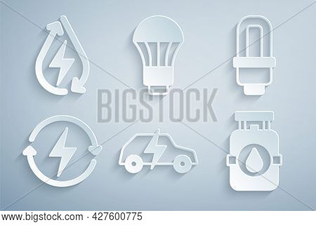 Set Electric Car, Led Light Bulb, Recharging, Propane Gas Tank, And Water Energy Icon. Vector