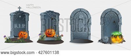 Set Of Gravestones With Rest In Peace Inscription Vector Illustration. Ancient Rip. Halloween Elemen