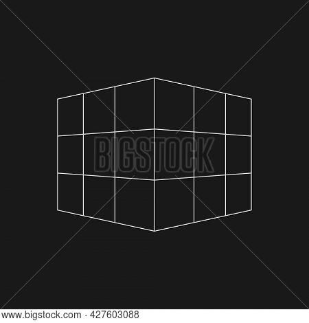 Retrofuturistic Perspective Mesh Cube. Digital Cyber Retro Design Element. Cube In Cyberpunk 80s Sty