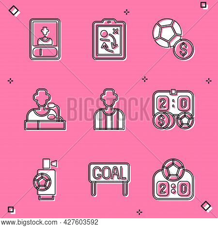 Set Football Or Soccer Card, Planning Strategy Concept, Soccer Football, Player Press Conference, Re
