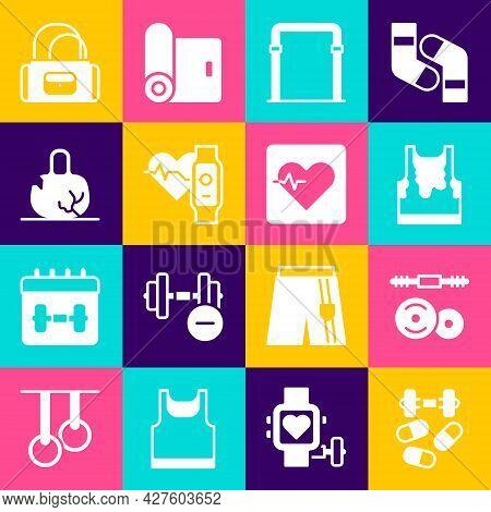 Set Sports Doping With Dumbbell, Barbell, Sweaty Sleeveless T-shirt, Horizontal Bar, Smart Watch Hea