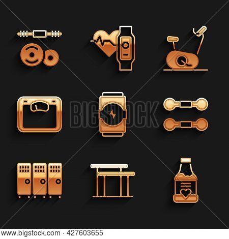Set Energy Drink, Uneven Bars, Vitamins, Dumbbell, Locker Or Changing Room, Bathroom Scales, Station