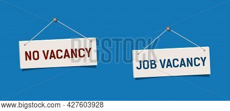 Vacancy Sign Hanging On Blue Wall. Realistic Sign No Vacancy Hang On Nail.